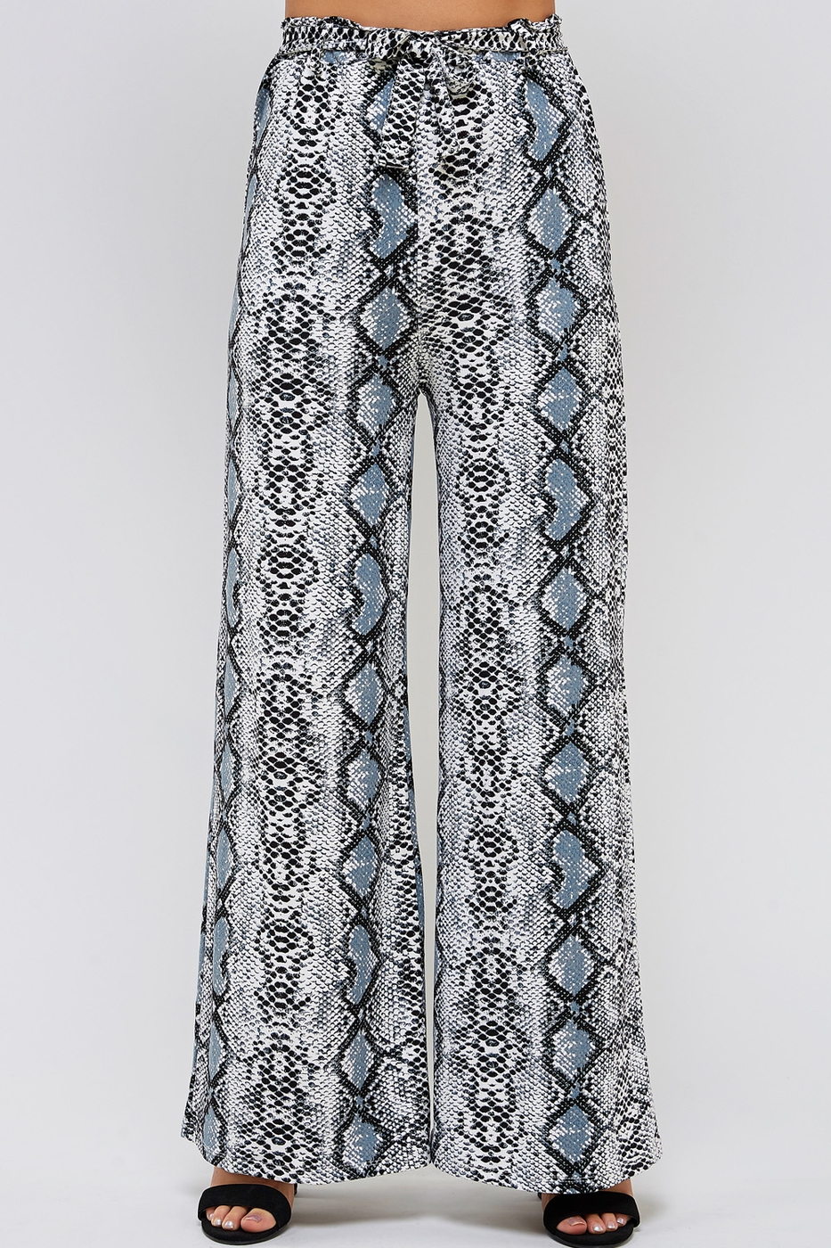 Print Belted Wide Pants - orangeshine.com