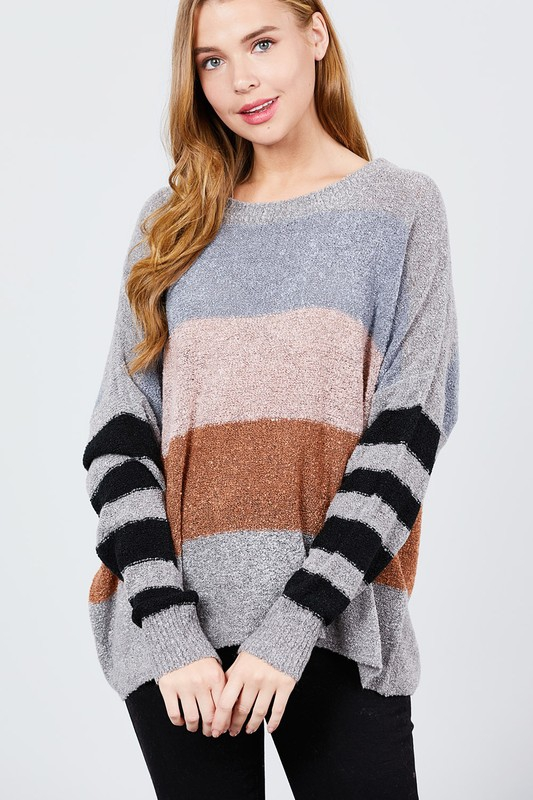 Colorblock Sweater with Striped Sleeves - orangeshine.com