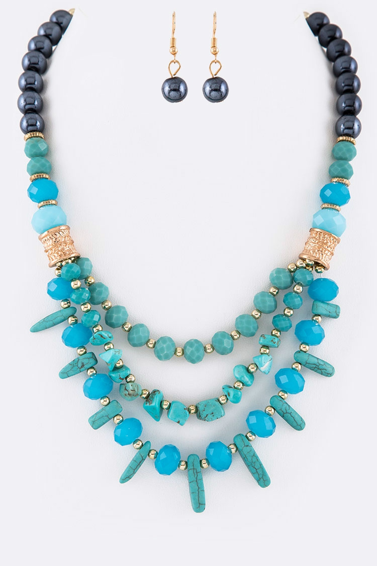 Mix Stone Crystal Necklace Set - orangeshine.com