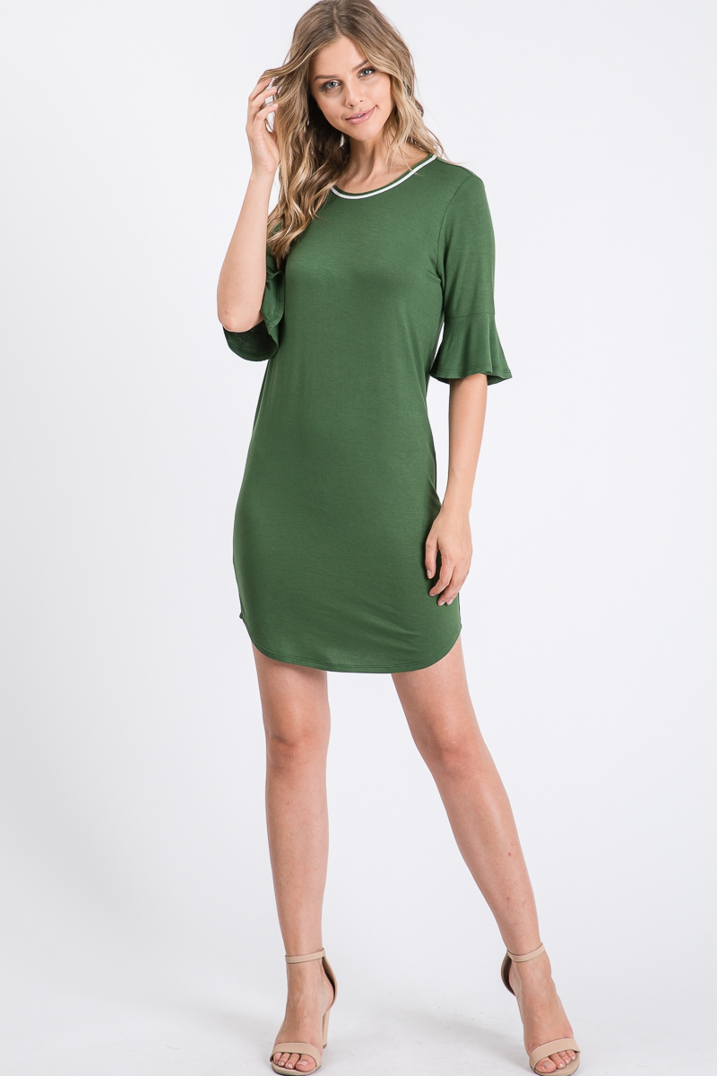 Short Bell Sleeves Knit Dress - orangeshine.com