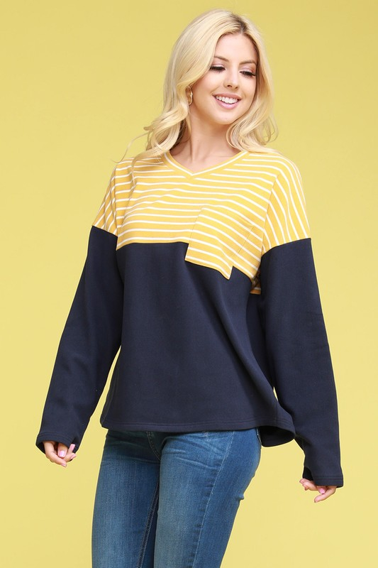 V-NECK CONTRAST PANELED SWEATSHIRTS - orangeshine.com