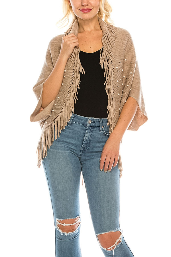 PEARL ACCENT FRINGE TRIM SHRUG  - orangeshine.com