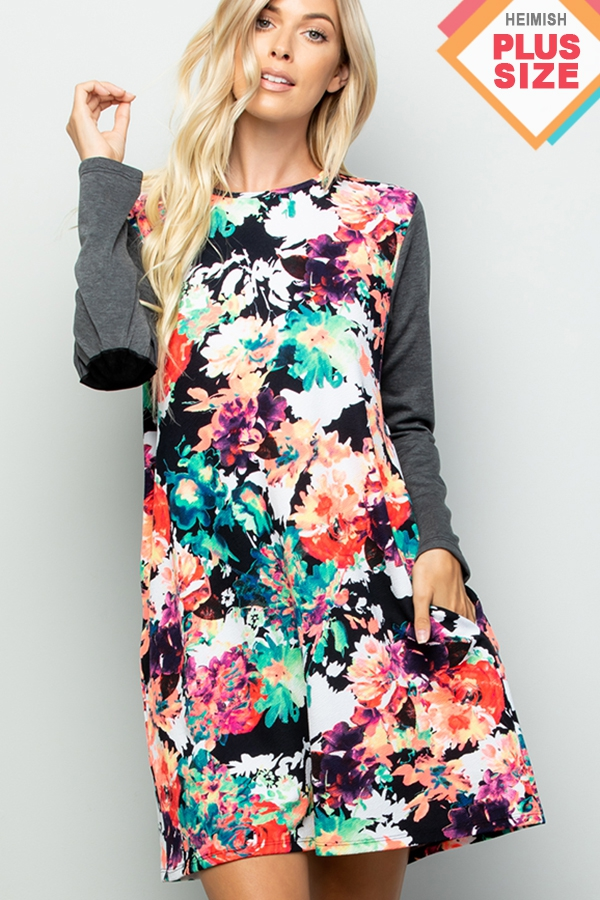 PLUS FLORAL PRINT DRESS WITH ELBOW P - orangeshine.com