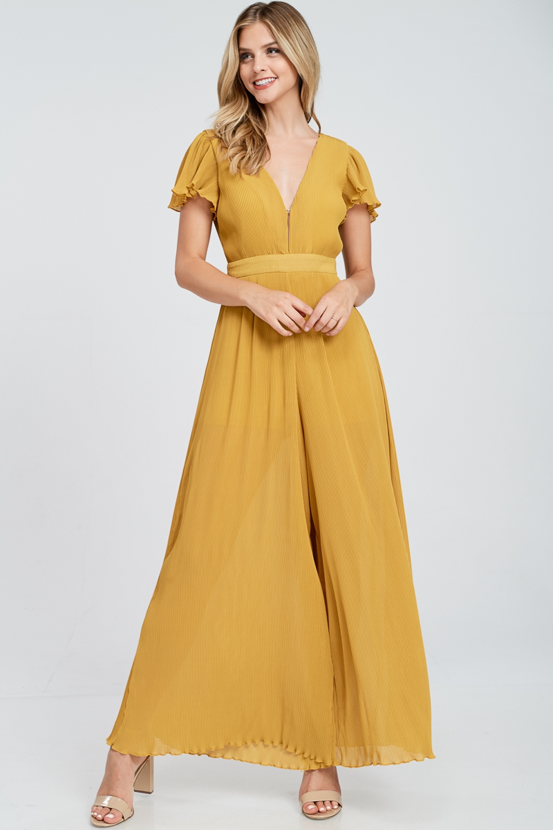 Short Sleeve Pleated Jumpsuit - orangeshine.com