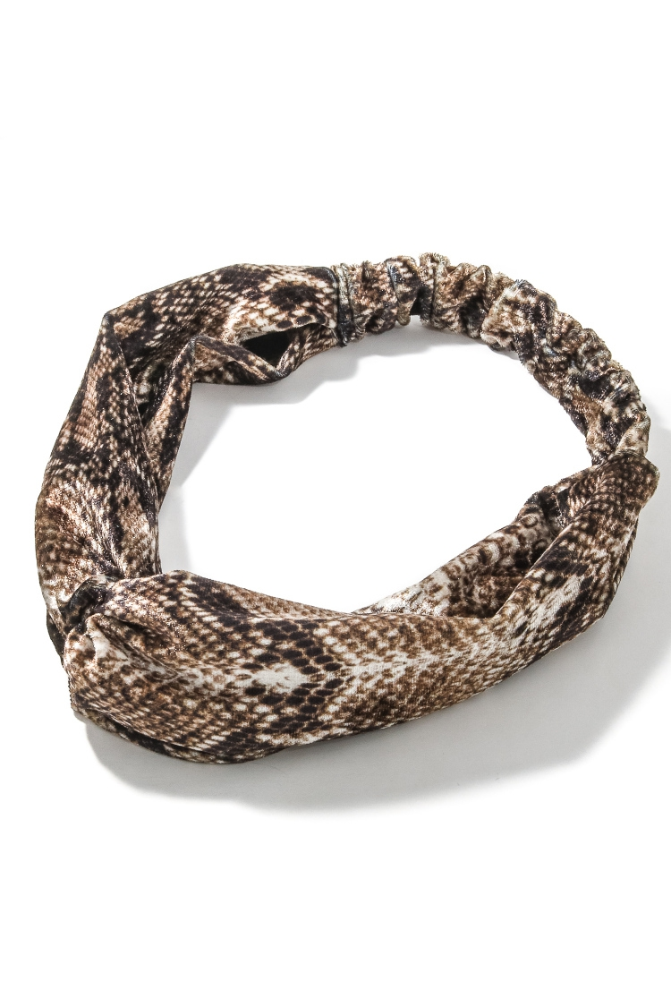 Snakeskin Print Stretchy Head Band - orangeshine.com