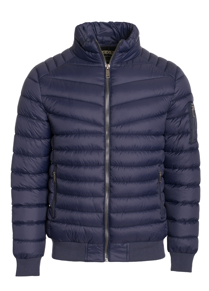 Quilted Zipper Pocket Puffer Jacket  - orangeshine.com