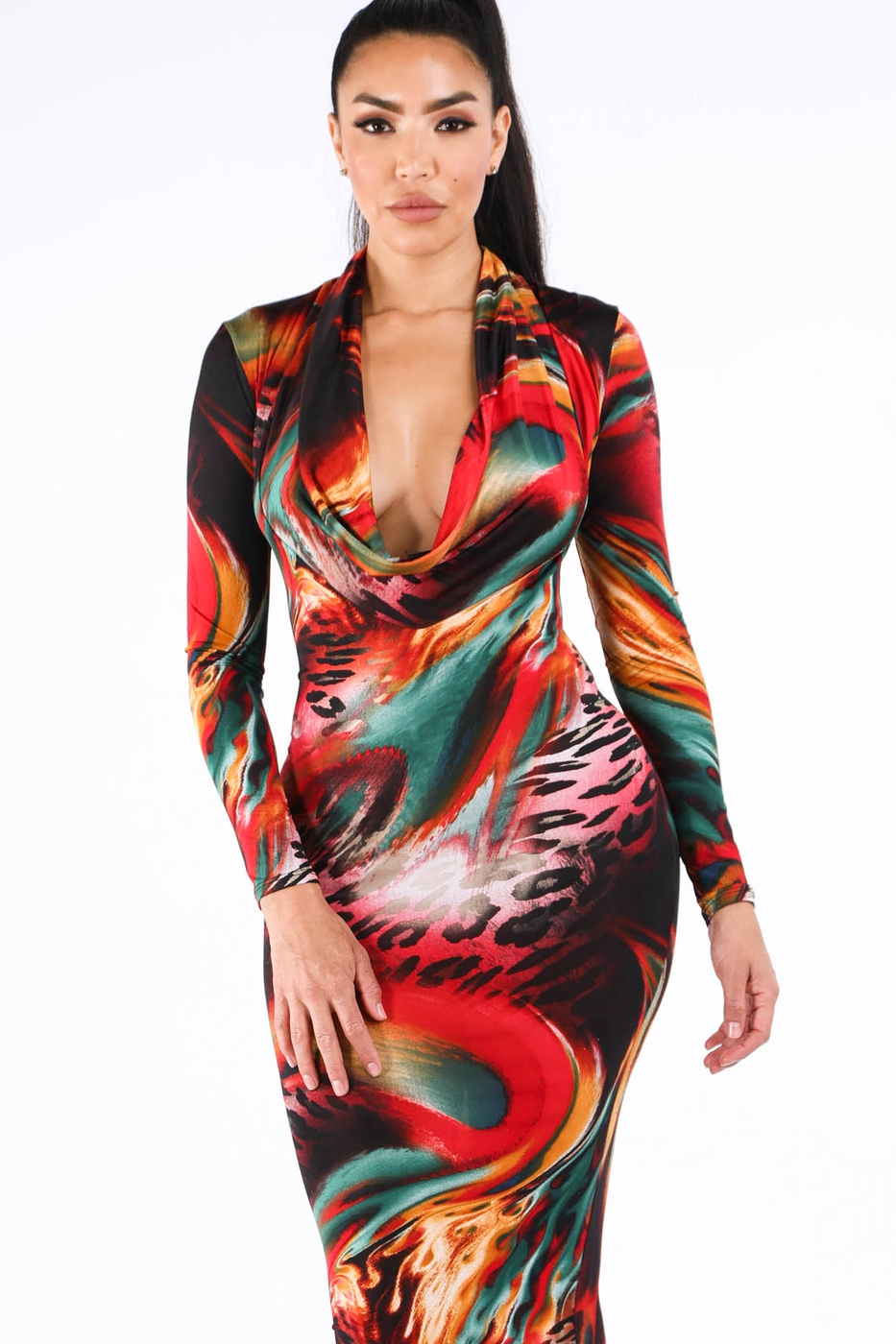 Printed cowl neck maxi dress - orangeshine.com
