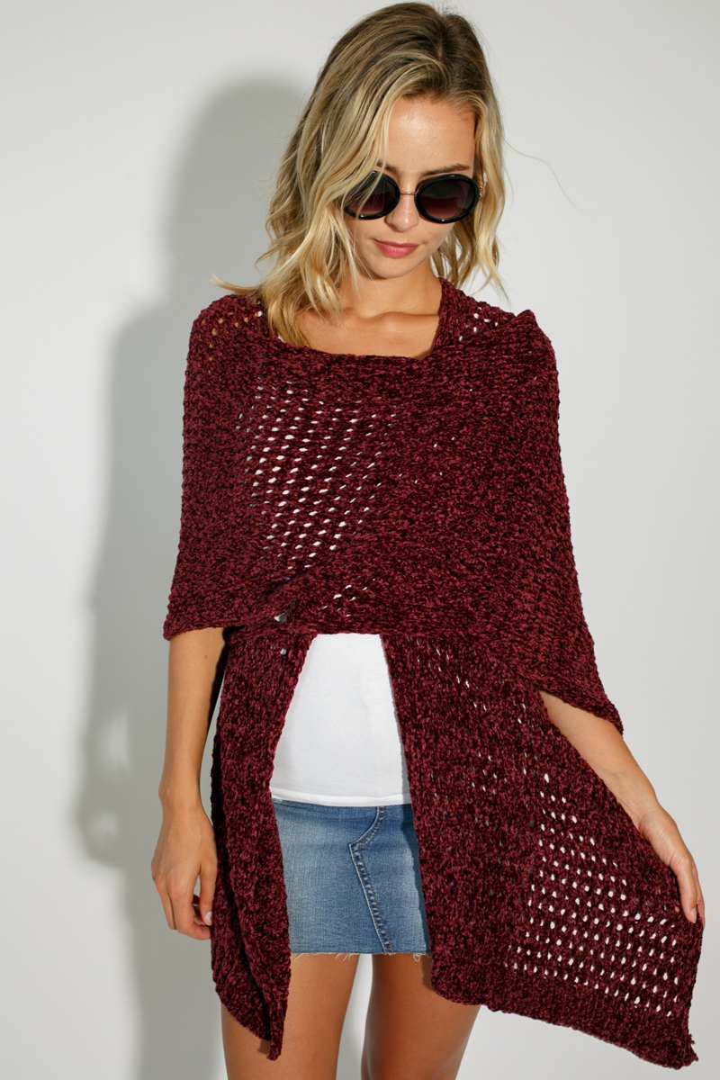 KNITTED HOLLOW CARDIGAN CAPE PONCHO - orangeshine.com