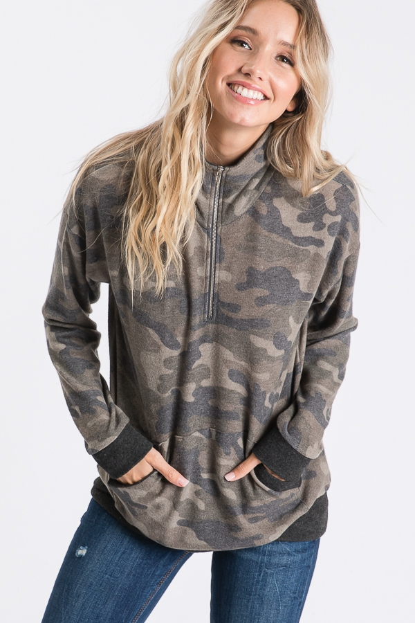 CAMO ZIP UP SWEATER  - orangeshine.com