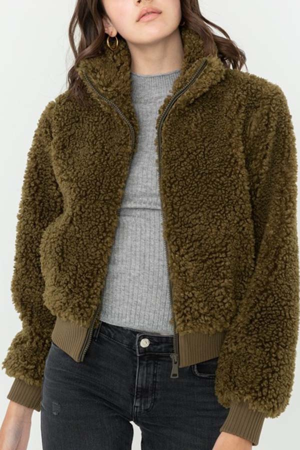 SOFT FUR ZIP UP BOMBER JACKET - orangeshine.com
