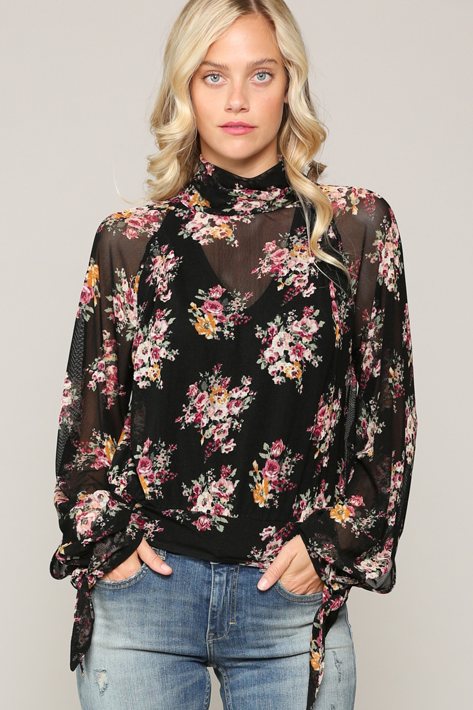 SHEER MOCK NECK BLOUSE - orangeshine.com