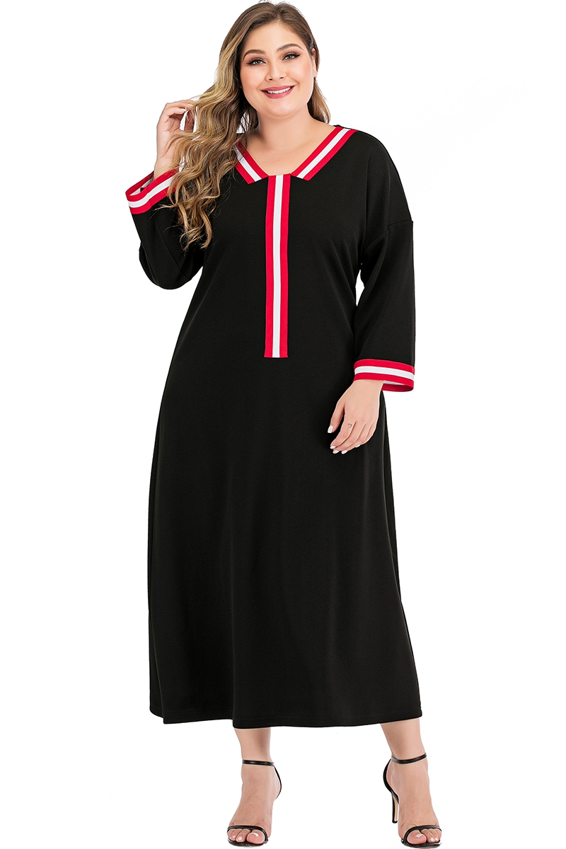 Plus Size V neck long sleeve maxi dress - orangeshine.com