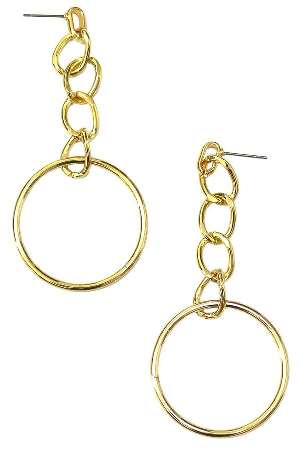 Chain link earrings with a dangling  - orangeshine.com
