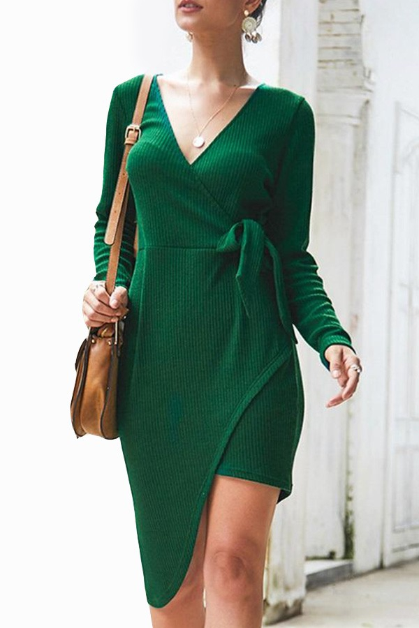 LONG SLEEVE KNITTED SHORT DRESSES - orangeshine.com