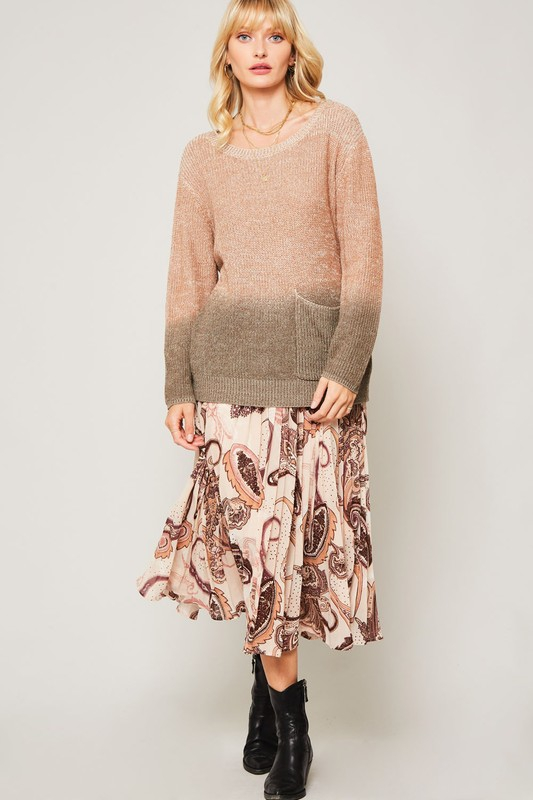 KNIT OMBRE LOOSE FIT SWEATER - orangeshine.com