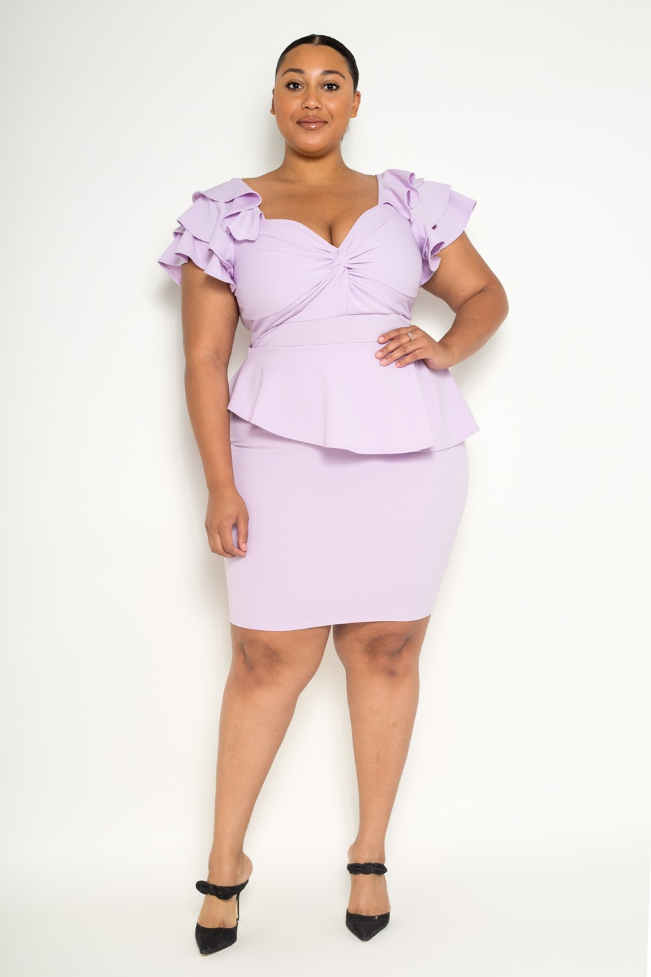 Plus Size Ruffle Peplum Dress - orangeshine.com