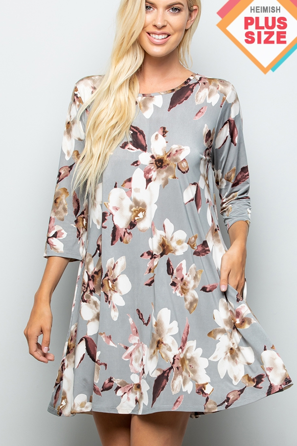 PLUS FLORAL PRINT DRESS - orangeshine.com