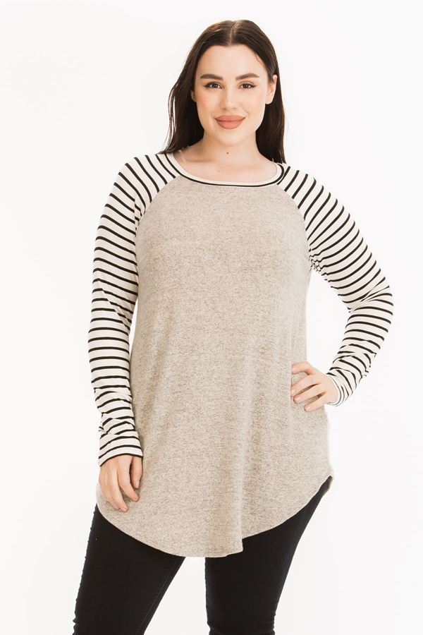 Striped Raglan Sleeves Top - orangeshine.com