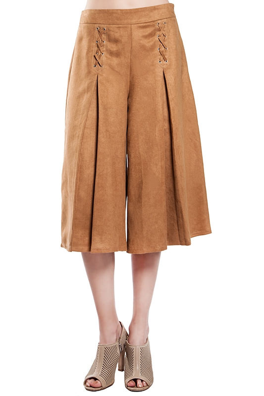 RP9172 PLEATED FAUX SUEDE CULOTTES - orangeshine.com
