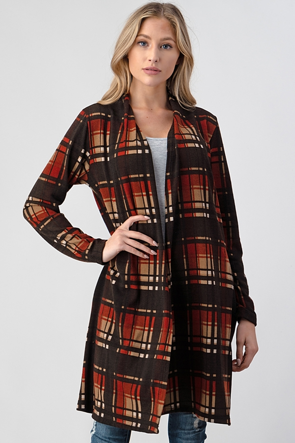 PLAID KNIT SWEATER POCKET CARDIGAN - orangeshine.com