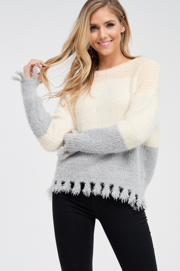 Chunky Fringe Color Block Sweater - orangeshine.com
