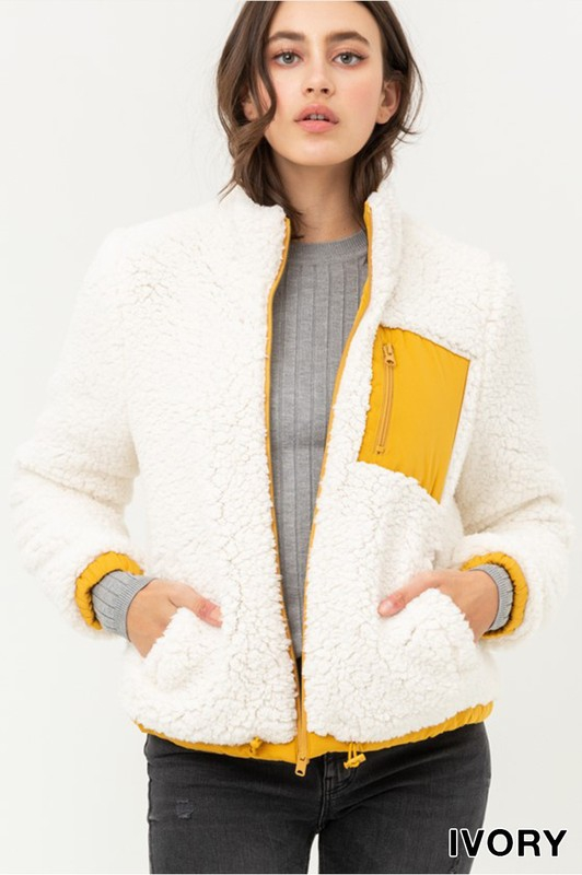 Reversible Sherpa Jacket with Pocket - orangeshine.com
