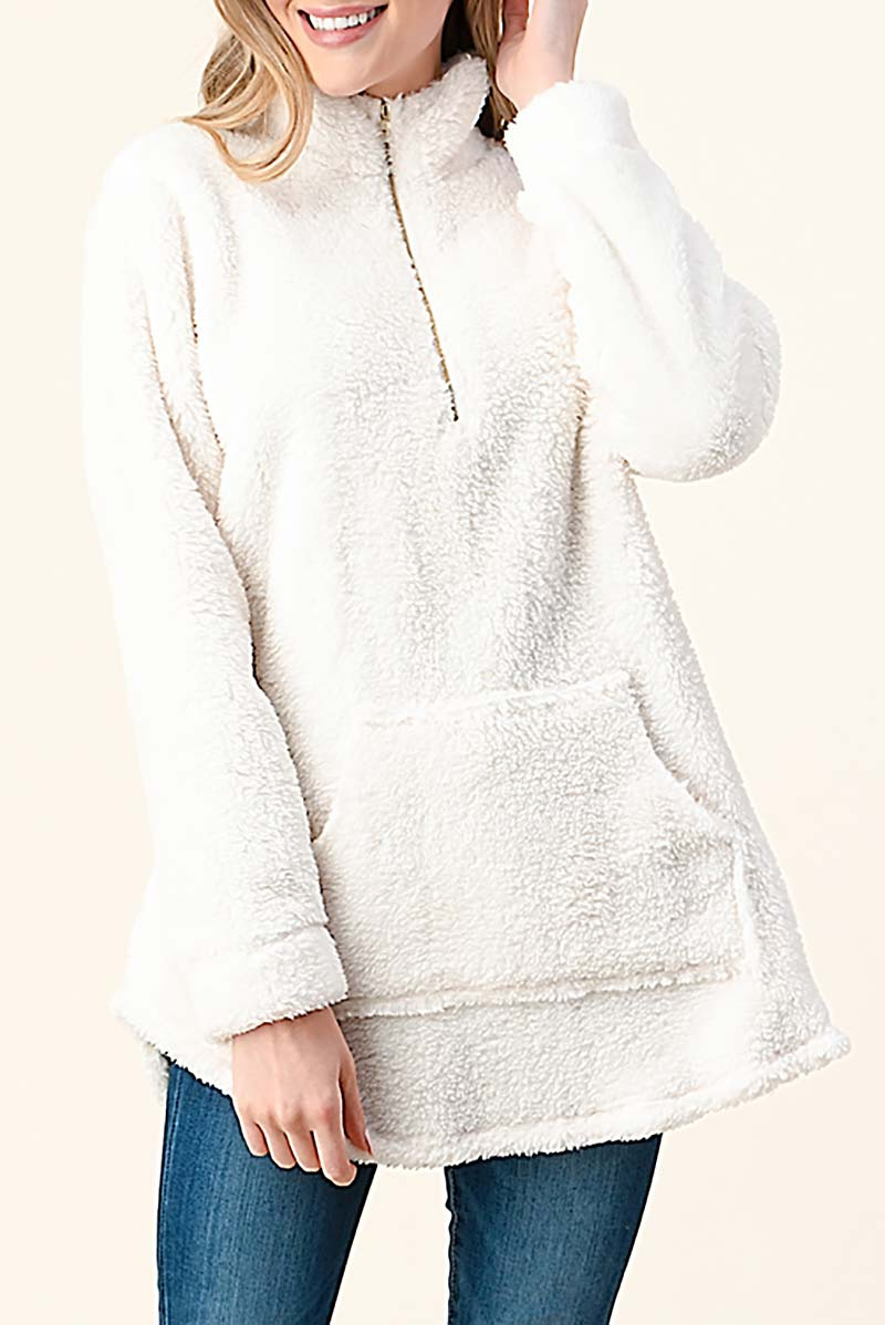 ZIP DOWN FAUX FUR PULLOVER - orangeshine.com