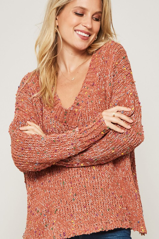 MULTICOLOR POPCORN LOOSE FIT SWEATER - orangeshine.com