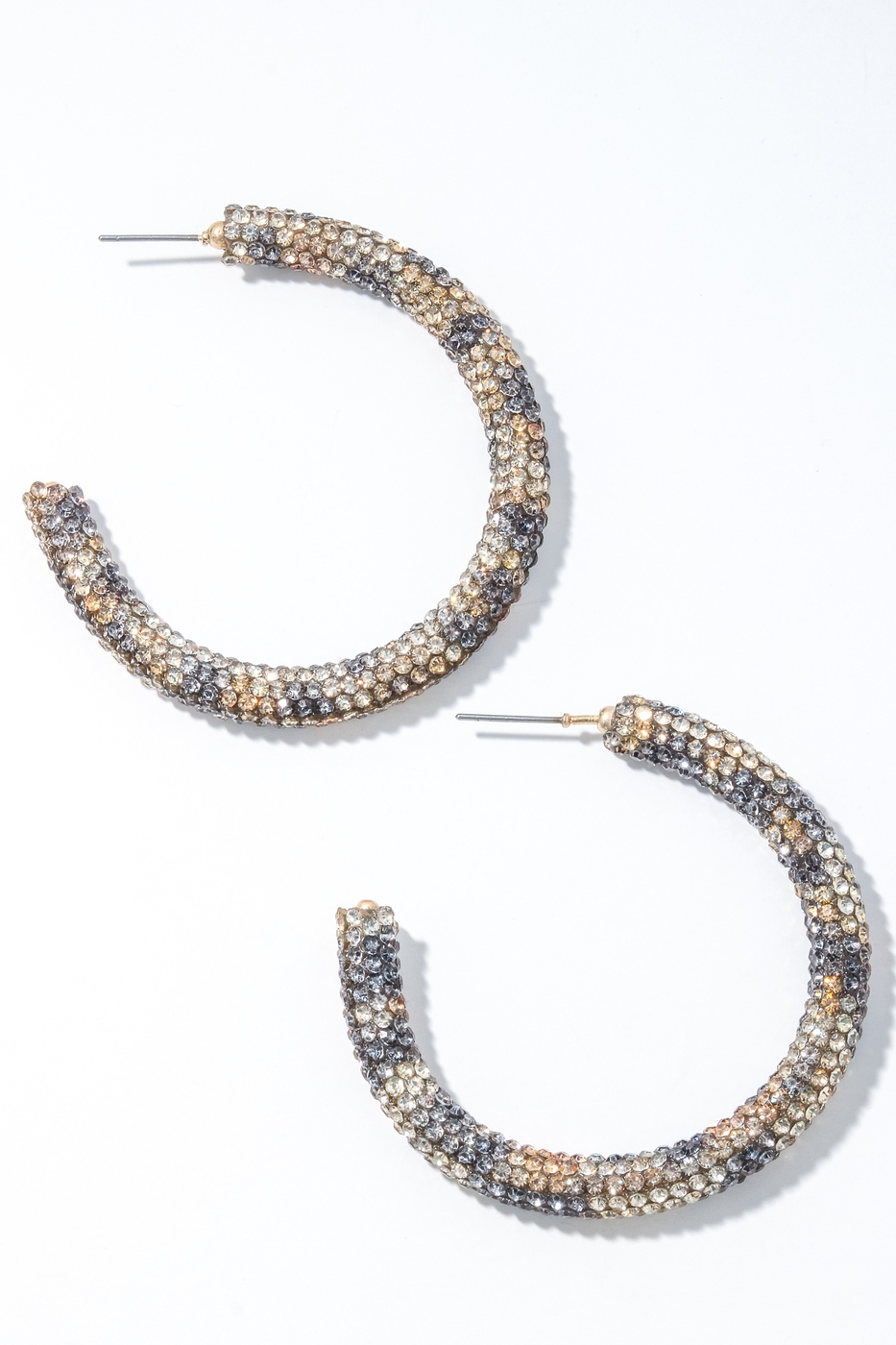 Rhinestone Encrusted Hoop Earrings - orangeshine.com