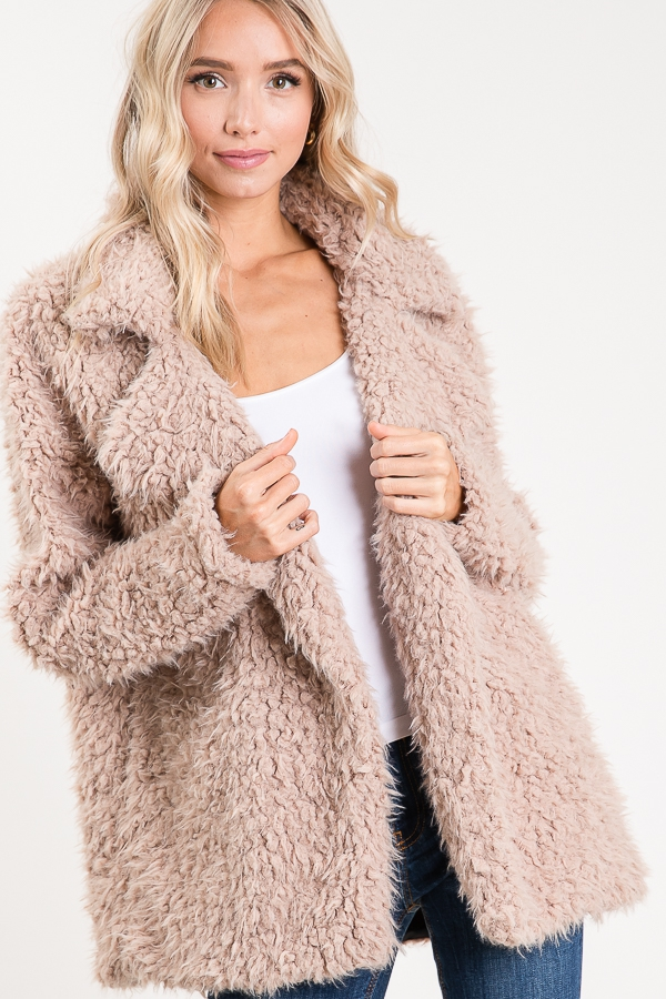 LONG SLEEVE COLORED FAUX FUR JACKET - orangeshine.com