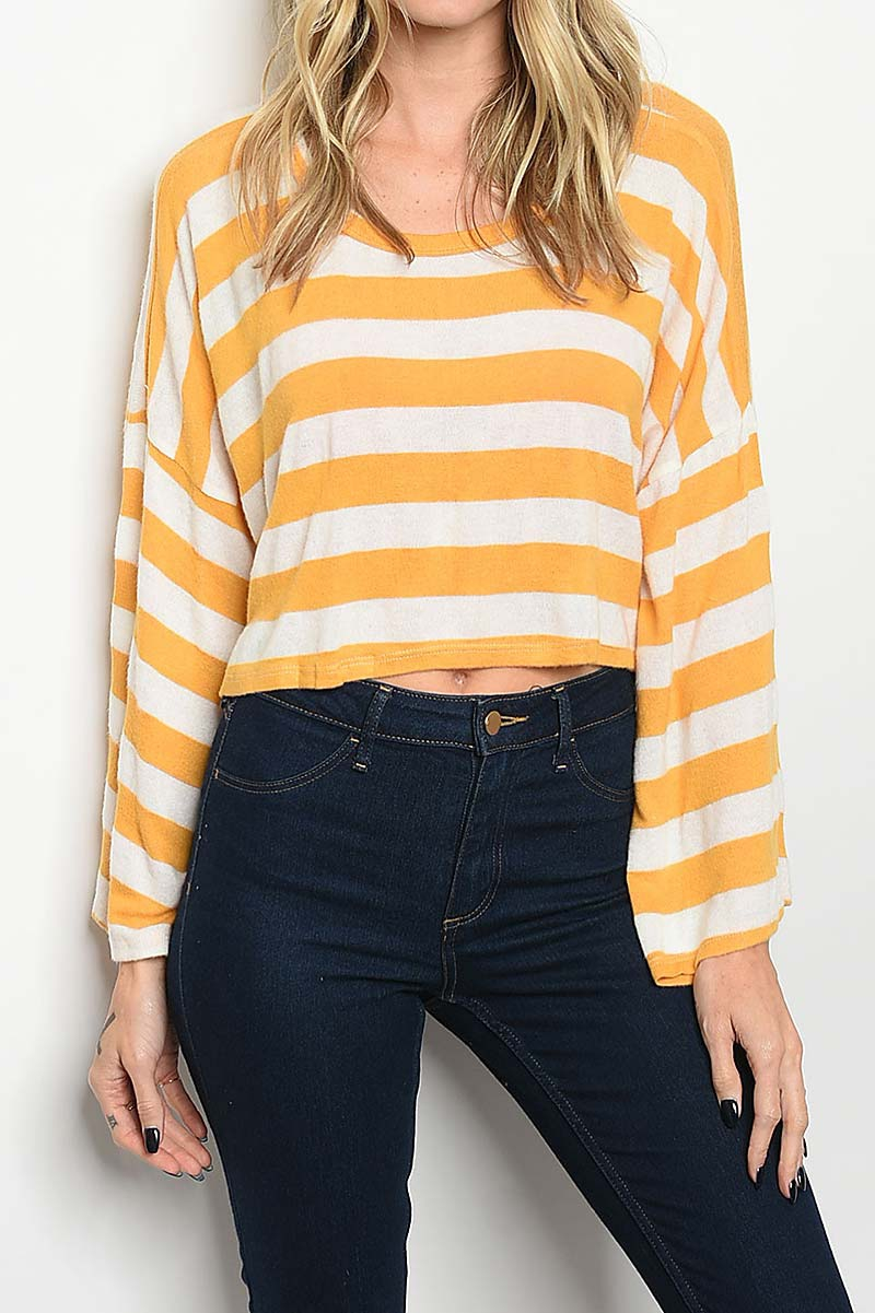 ROUND NECK STRIPE LOOSE FIT TOP  - orangeshine.com