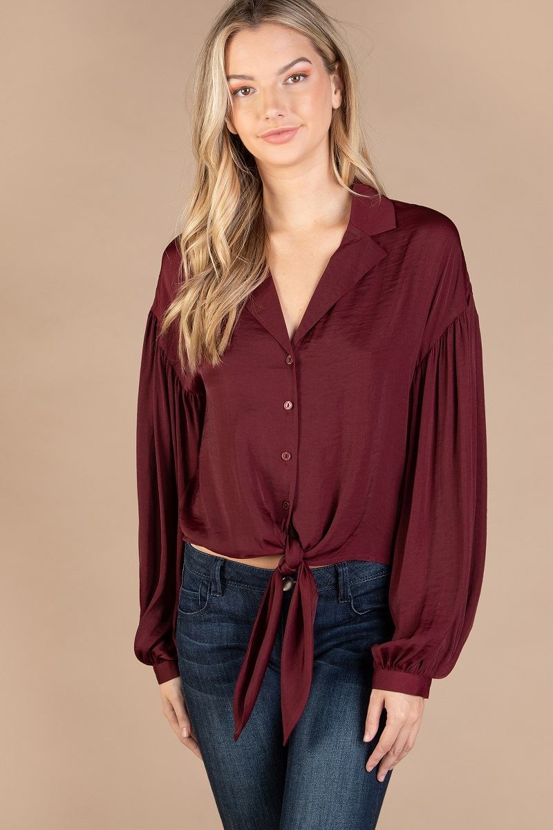 LONG SLEEVE BUTTON UP BLOUSE - orangeshine.com
