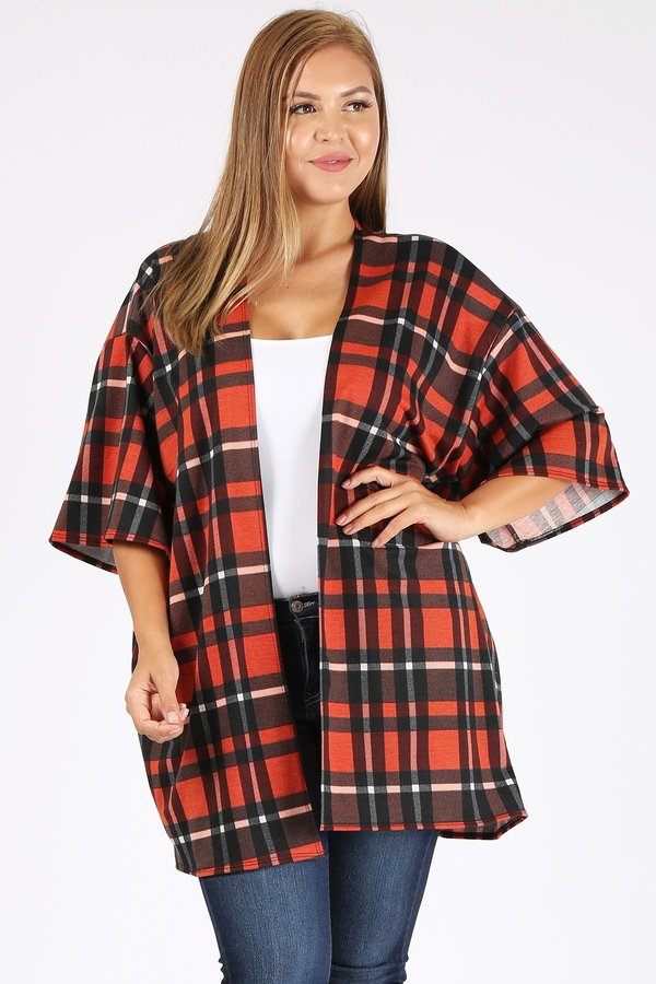 PLUS SIZE PLAID PRINT SWEATER CARDIG - orangeshine.com