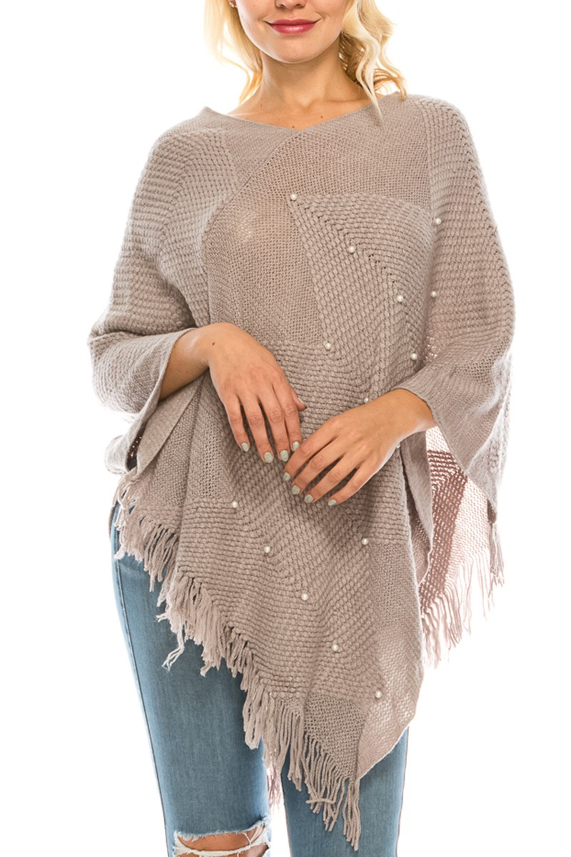 SOLID PONCHO WITH FAUX PEARL TRIM - orangeshine.com
