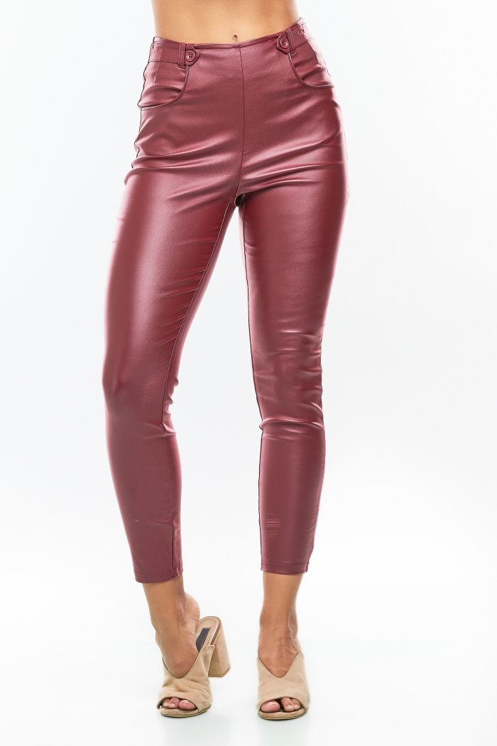 MID RISE SKINNY PU COATED PANTS - orangeshine.com