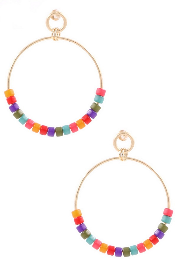 Beaded Hoop Drop Earrings - orangeshine.com