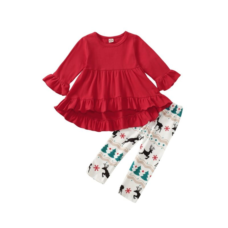 Red Ruffle Tunic with deer pants - orangeshine.com