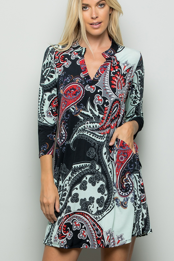 MULTI PRINT COLLAR DRESS - orangeshine.com