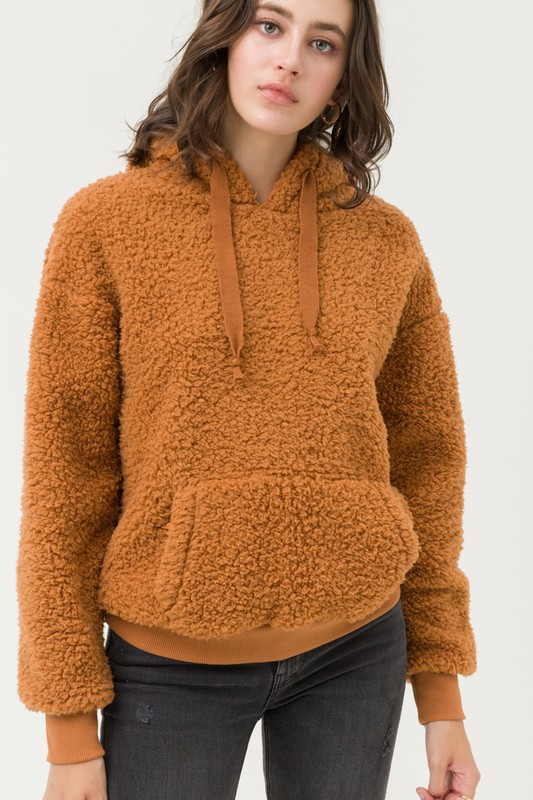 Hooded Sherpa Fleece Teddy Top - orangeshine.com