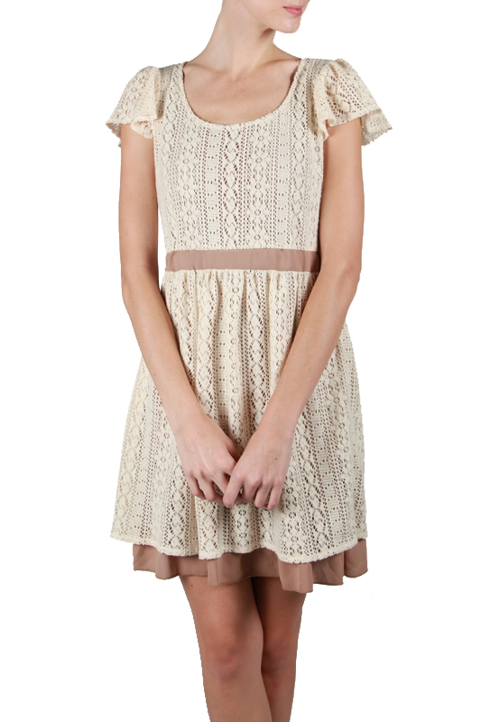 AD3801 SHORT BELL SLEEVE LACED PLEAT - orangeshine.com
