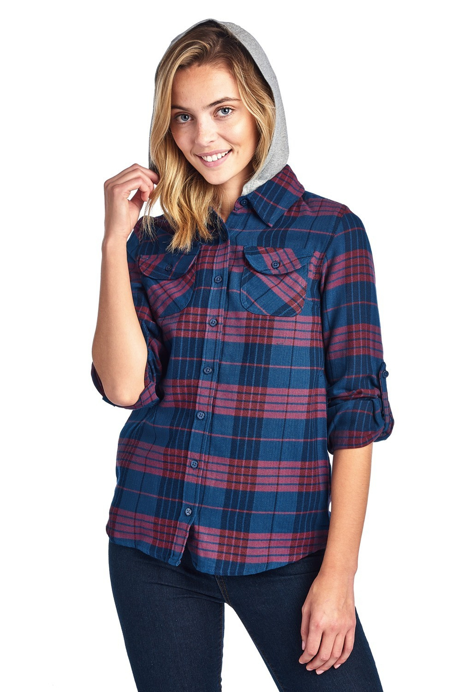 Hooded Plaid Flannel Long Sleeve - orangeshine.com
