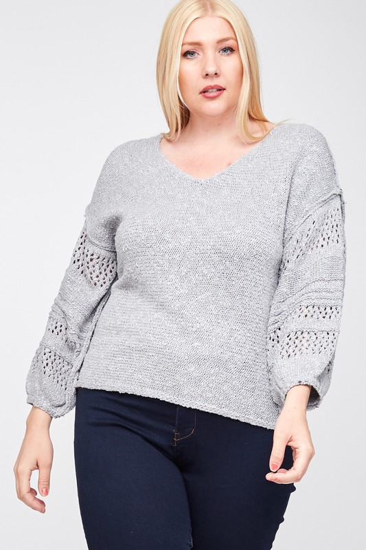 V Neck Sweater Top - orangeshine.com