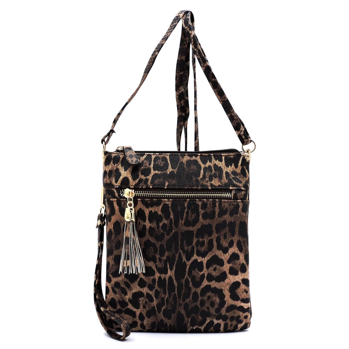 Leopard Multi Compartment Cross Body - orangeshine.com