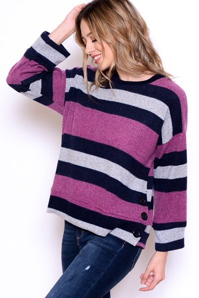 STRIPED SWEATER WITH BUTTON DETAIL - orangeshine.com
