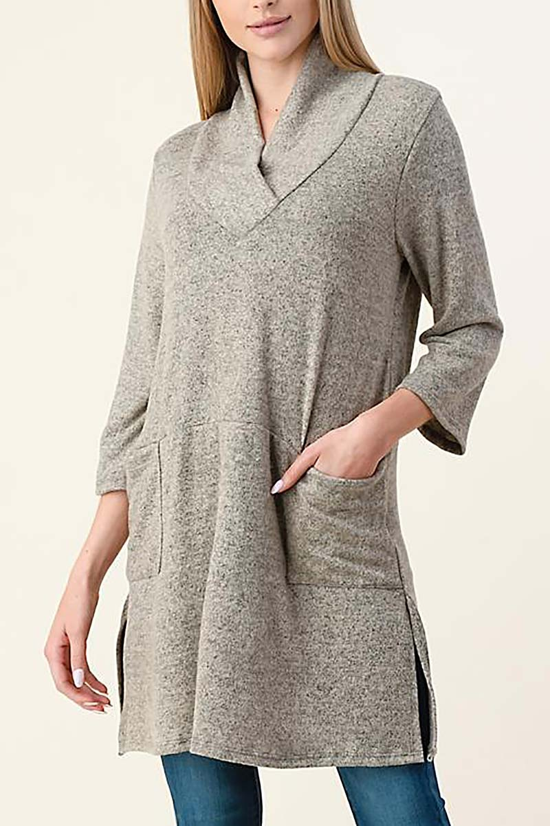 COWL NECK SIDE SLIT SWEATER - orangeshine.com