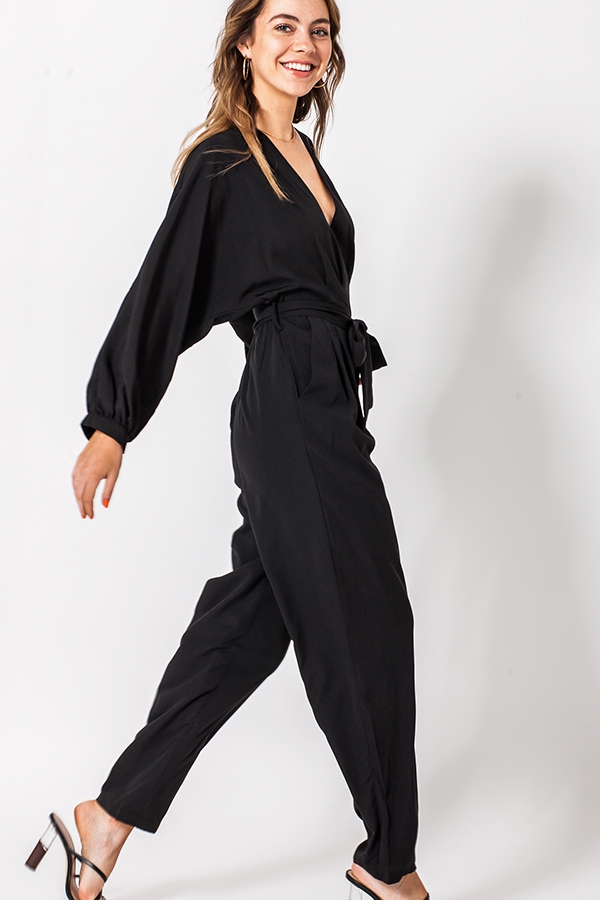 SURPLICE JUMPSUIT WITH WAIST TIE - orangeshine.com