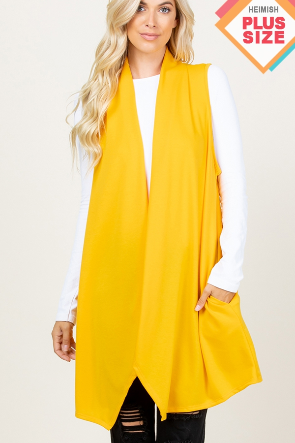 PLUS SOLID DRAPED VEST WITH SIDE POC - orangeshine.com