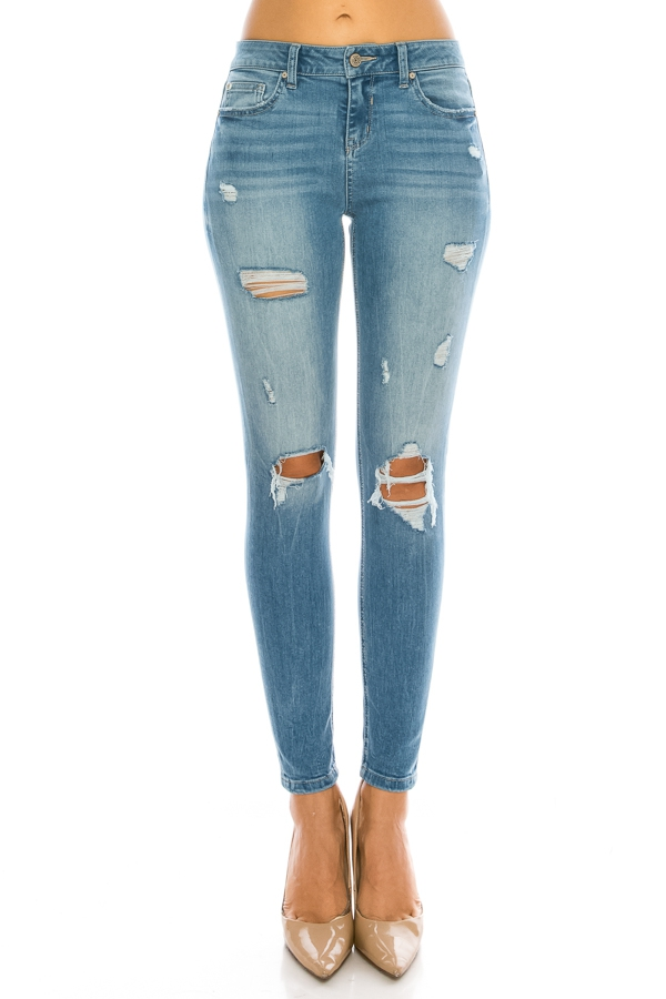 Distressed Mid Rise Ankle Skinny - orangeshine.com