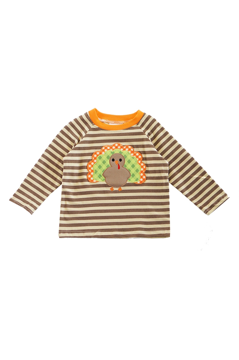 Stripe turkey applique boy raglan - orangeshine.com