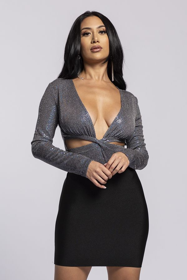 long slv deep v disco ball bodysuit - orangeshine.com